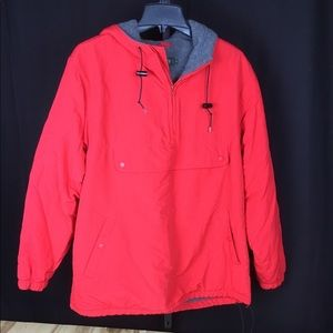 Men's J Crew pouch pullover ski jacket hood red